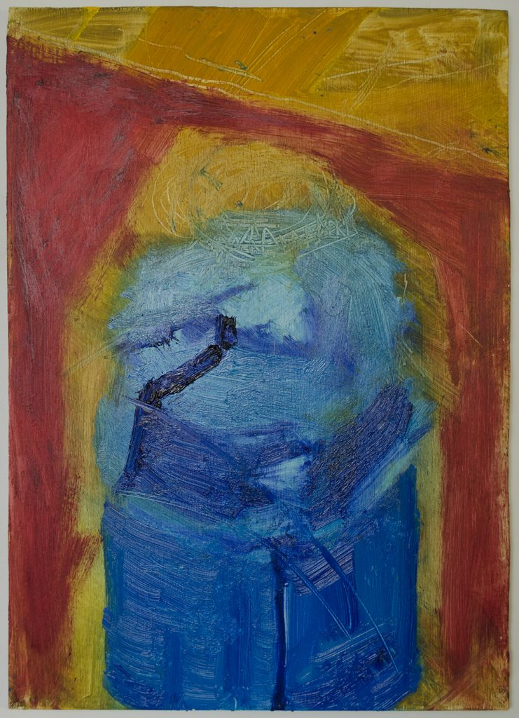 Oil painting on Birch Plywood of a blue camping stove against a yellow and red background.