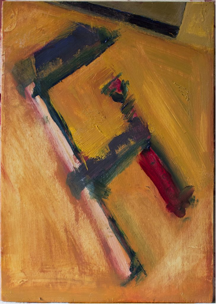 Oil painting on Birch Ply of DIY Clamp againt orange yellow background
