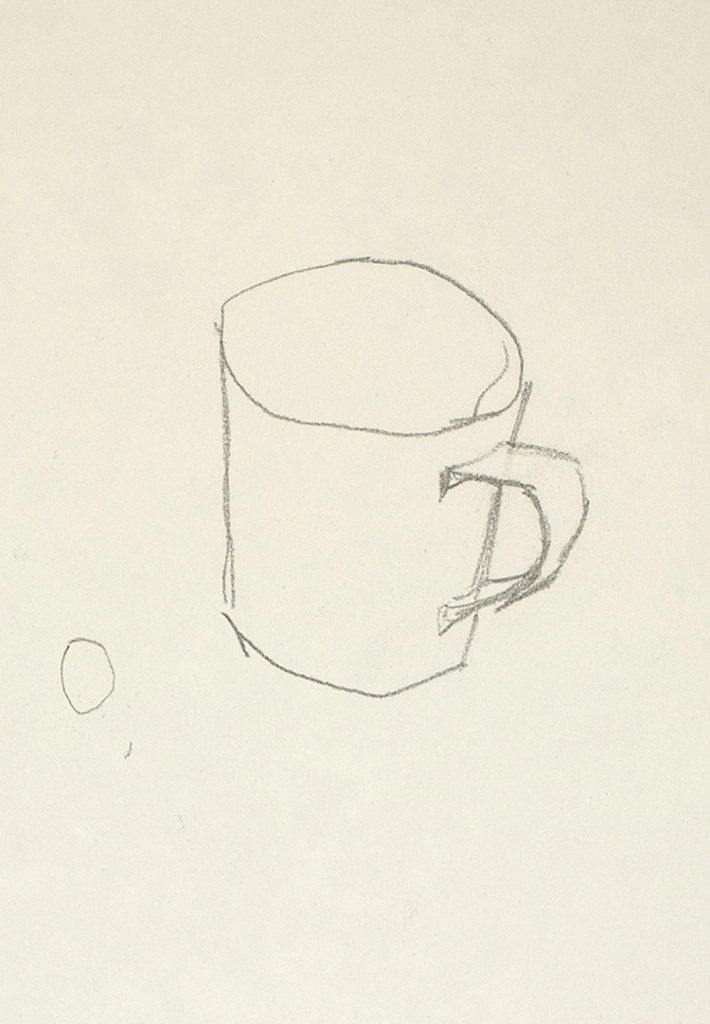 A simple sketch of a cup with a small spherical object beside it