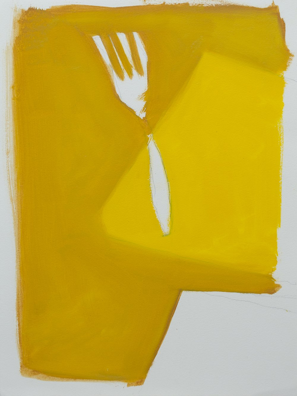 Oil and pencil image on oil paper of fork with two different varieties of yellow paint as background