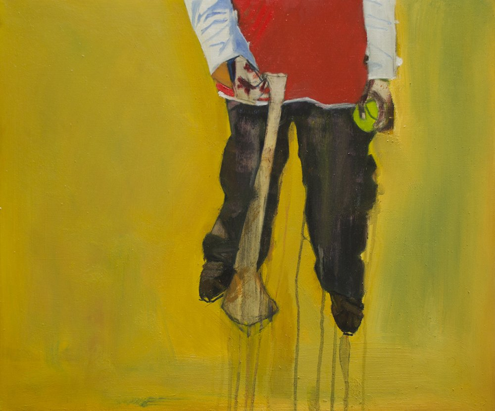 Oil painting of Boy holding a Tennis Ball and Hurley stick on a Yellow surface