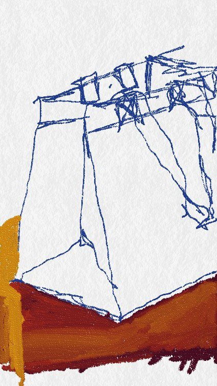 A drawing of a shopping bag done with my finger on a smartphone