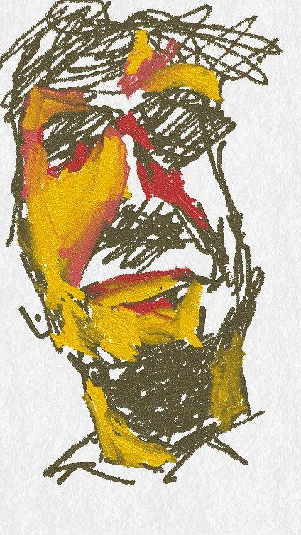 A drawing of someone seen on the bus drawn with my finger on a phone app