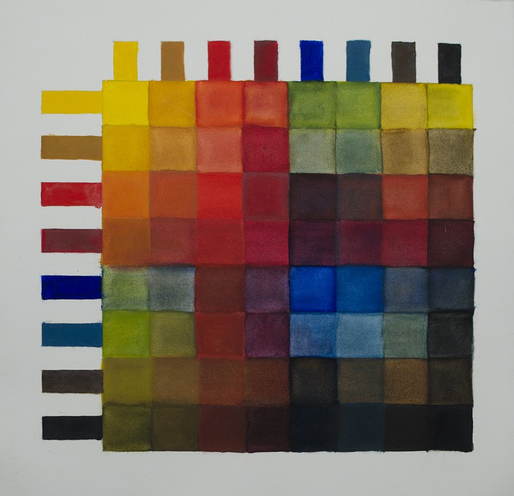 Oil Painting on Oil Paper of Grid consisting of Colours used at time of painting