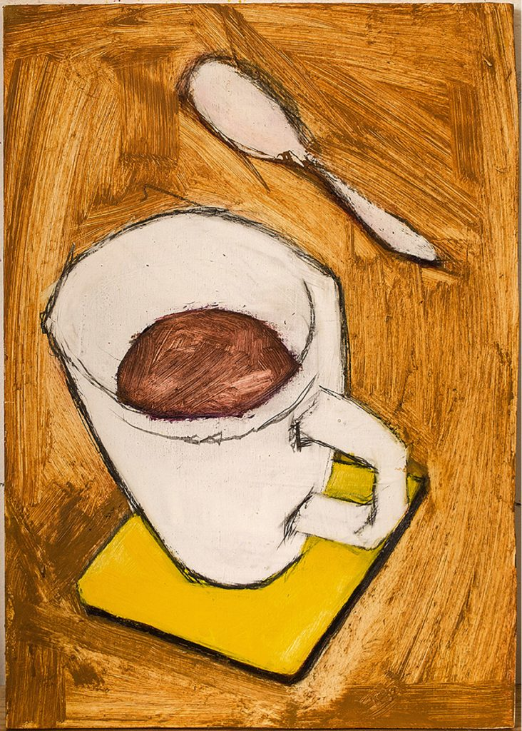 Oil painting on Birch Plywood of coffee cup, coaster and spoon on yellow ochre surface.