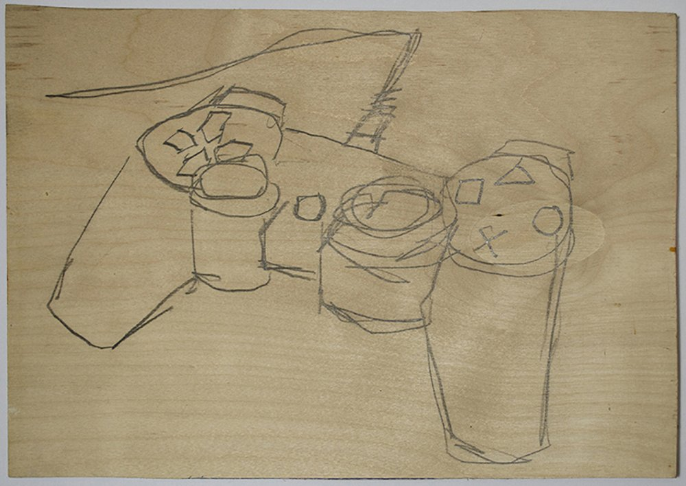 Pencil Drawing of PS3 Controller on Birch Plywood
