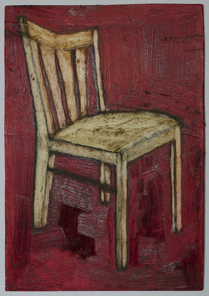 Oil Painting on Birch Plywood of Hard-Backed Chair against a Red Background.