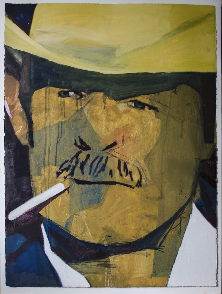 Oil Painting on Oil Paper of a Smartly Dressed Cowboy Smoking a Cigarette