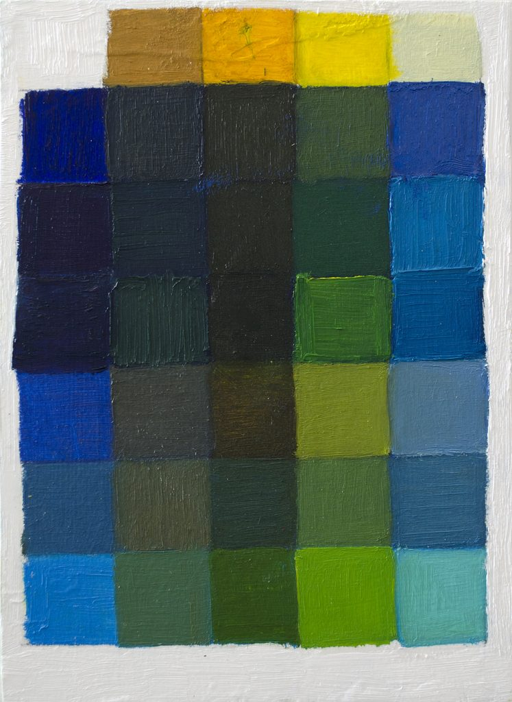 Grid consisting of four different yellow oil colours painted seperately over six different blue colours.