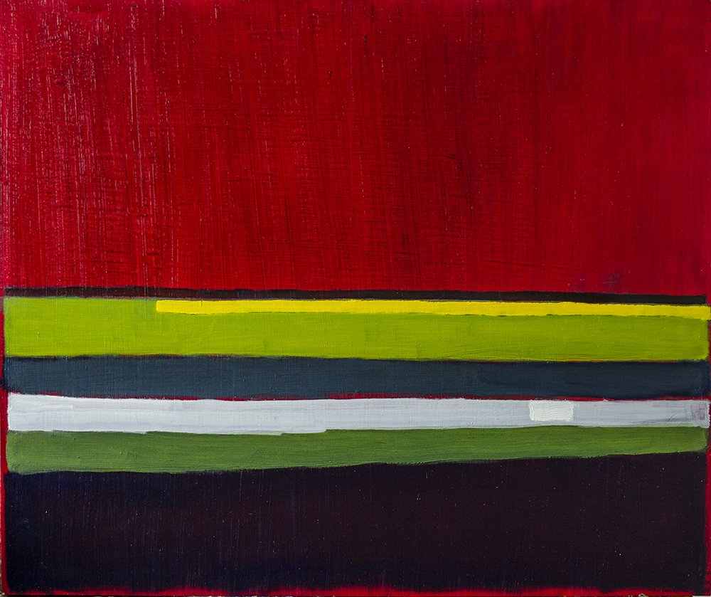Oil Painting of Stripes of Alizarin Crimson, Greens, Yellow and a Black and White