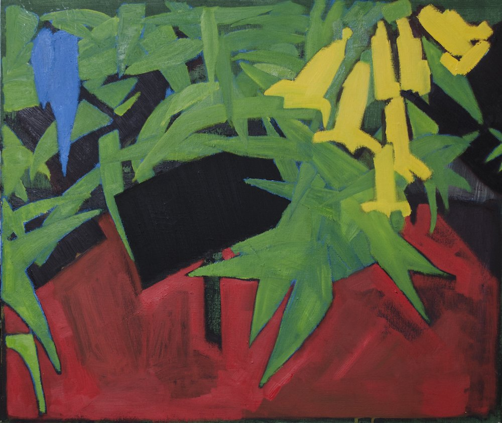 Oil painting of mainly green (with two blue) leaves, yellow flowers on a red surface against a dark background.