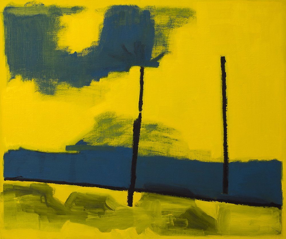 Abstract oil painting with cadmium yellow background, wide horizontal stripe in cerulean blue, two thin vertical lines in black and a wide u shape in the top left, also in cerulean blue.