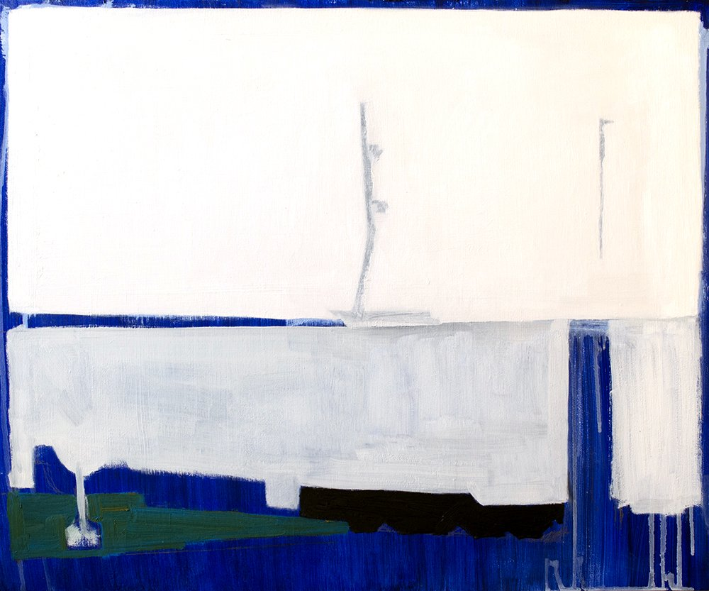 Abstract Oil Painting with white, blue, green and black.
